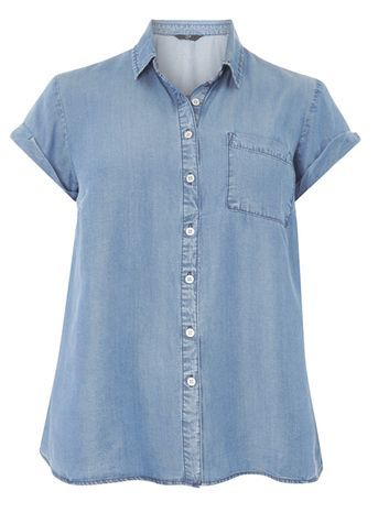 Blue Tencel Shirt - neckline: shirt collar/peter pan/zip with opening; pattern: plain; style: shirt; predominant colour: denim; occasions: casual; length: standard; fibres: viscose/rayon - 100%; fit: body skimming; sleeve length: short sleeve; sleeve style: standard; texture group: denim; pattern type: fabric; season: s/s 2016; wardrobe: basic