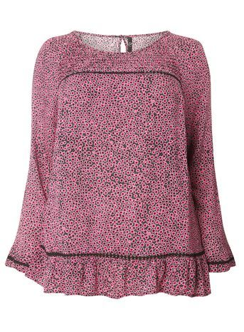 Pink Printed Top - secondary colour: black; occasions: casual; length: standard; style: top; fibres: viscose/rayon - 100%; fit: body skimming; neckline: crew; sleeve length: long sleeve; sleeve style: standard; pattern type: fabric; pattern: florals; texture group: other - light to midweight; predominant colour: raspberry; multicoloured: multicoloured; season: s/s 2016; wardrobe: highlight