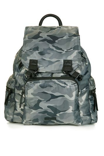 Nylon Backpack - predominant colour: mid grey; secondary colour: black; occasions: casual, creative work; type of pattern: standard; style: rucksack; length: rucksack; size: standard; material: fabric; finish: plain; pattern: camouflage; season: s/s 2016; wardrobe: highlight