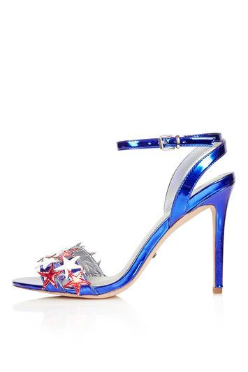 Raegan Star Sandals - predominant colour: diva blue; occasions: evening, occasion; material: faux leather; ankle detail: ankle strap; heel: stiletto; toe: open toe/peeptoe; style: strappy; finish: metallic; pattern: plain; heel height: very high; season: s/s 2016; trends: metallics