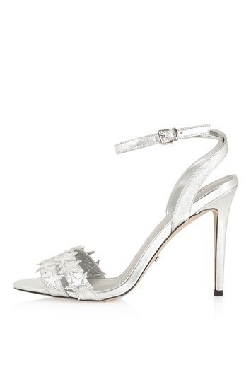 Raegan Star Sandals - predominant colour: silver; occasions: evening, occasion; material: faux leather; ankle detail: ankle strap; heel: stiletto; toe: open toe/peeptoe; style: strappy; finish: metallic; pattern: plain; heel height: very high; season: s/s 2016; wardrobe: event; trends: metallics