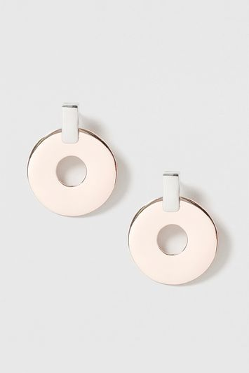 Circle And Bar Drop Earrings - secondary colour: silver; predominant colour: gold; occasions: casual; style: drop; length: mid; size: large/oversized; material: chain/metal; fastening: pierced; finish: metallic; multicoloured: multicoloured; season: s/s 2016; wardrobe: highlight