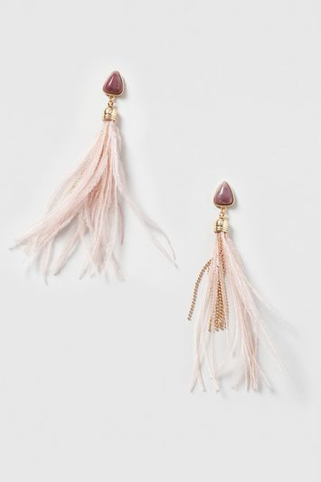 Semi Precious And Feather Drop Earrings - predominant colour: blush; occasions: evening, occasion; style: drop; length: short; size: small/fine; material: chain/metal; fastening: pierced; finish: metallic; embellishment: chain/metal; season: s/s 2016; wardrobe: event