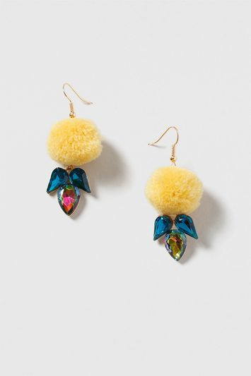 Pom Pom Drop Earring - secondary colour: turquoise; predominant colour: primrose yellow; occasions: evening; style: hoop; length: short; size: standard; material: chain/metal; fastening: pierced; finish: metallic; season: s/s 2016