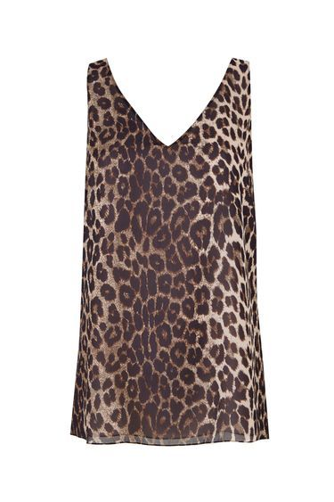 Stone Animal Printed Camisole Top - neckline: v-neck; sleeve style: sleeveless; secondary colour: ivory/cream; predominant colour: chocolate brown; occasions: casual; length: standard; style: top; fibres: polyester/polyamide - 100%; fit: body skimming; sleeve length: sleeveless; pattern type: fabric; pattern: animal print; texture group: other - light to midweight; pattern size: big & busy (top); multicoloured: multicoloured; season: s/s 2016; wardrobe: highlight