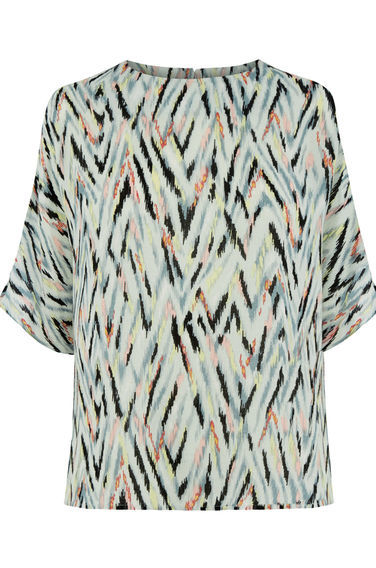Zig Zag Print Top - predominant colour: ivory/cream; secondary colour: black; occasions: casual; length: standard; style: top; fibres: polyester/polyamide - 100%; fit: body skimming; neckline: crew; sleeve length: half sleeve; sleeve style: standard; pattern type: fabric; pattern: patterned/print; texture group: woven light midweight; multicoloured: multicoloured; season: s/s 2016