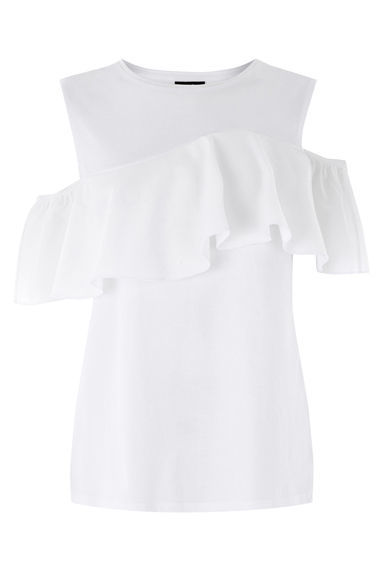 Cotton Off Shoulder Ruffle Top - pattern: plain; predominant colour: white; occasions: casual; length: standard; style: top; fibres: cotton - 100%; fit: body skimming; neckline: crew; shoulder detail: cut out shoulder; sleeve length: short sleeve; sleeve style: standard; texture group: cotton feel fabrics; bust detail: tiers/frills/bulky drapes/pleats; pattern type: fabric; season: s/s 2016