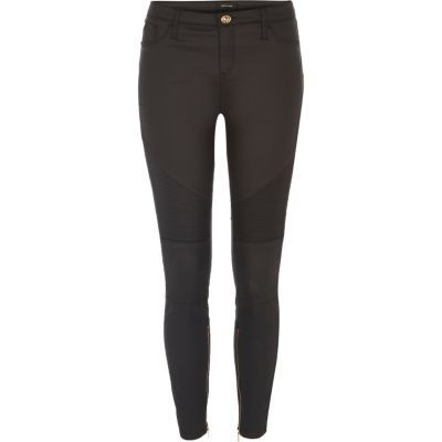 Womens Black Coated Amelie Super Skinny Biker Jeans - style: skinny leg; length: standard; pattern: plain; pocket detail: traditional 5 pocket; waist: mid/regular rise; predominant colour: black; occasions: casual, creative work; fibres: cotton - stretch; texture group: denim; pattern type: fabric; season: s/s 2016; wardrobe: basic