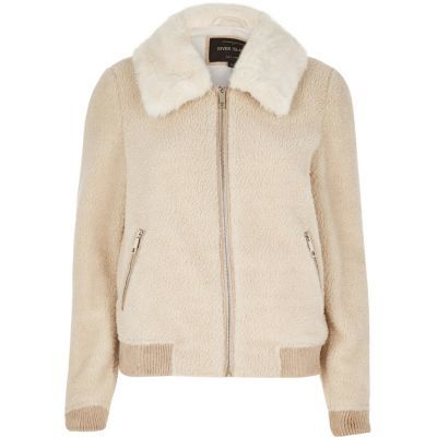 Womens Cream Borg Bomber Jacket - pattern: plain; fit: slim fit; collar: standard lapel/rever collar; style: bomber; predominant colour: nude; occasions: casual; length: standard; fibres: polyester/polyamide - 100%; sleeve length: long sleeve; sleeve style: standard; texture group: fur; collar break: high; pattern type: fabric; season: s/s 2016