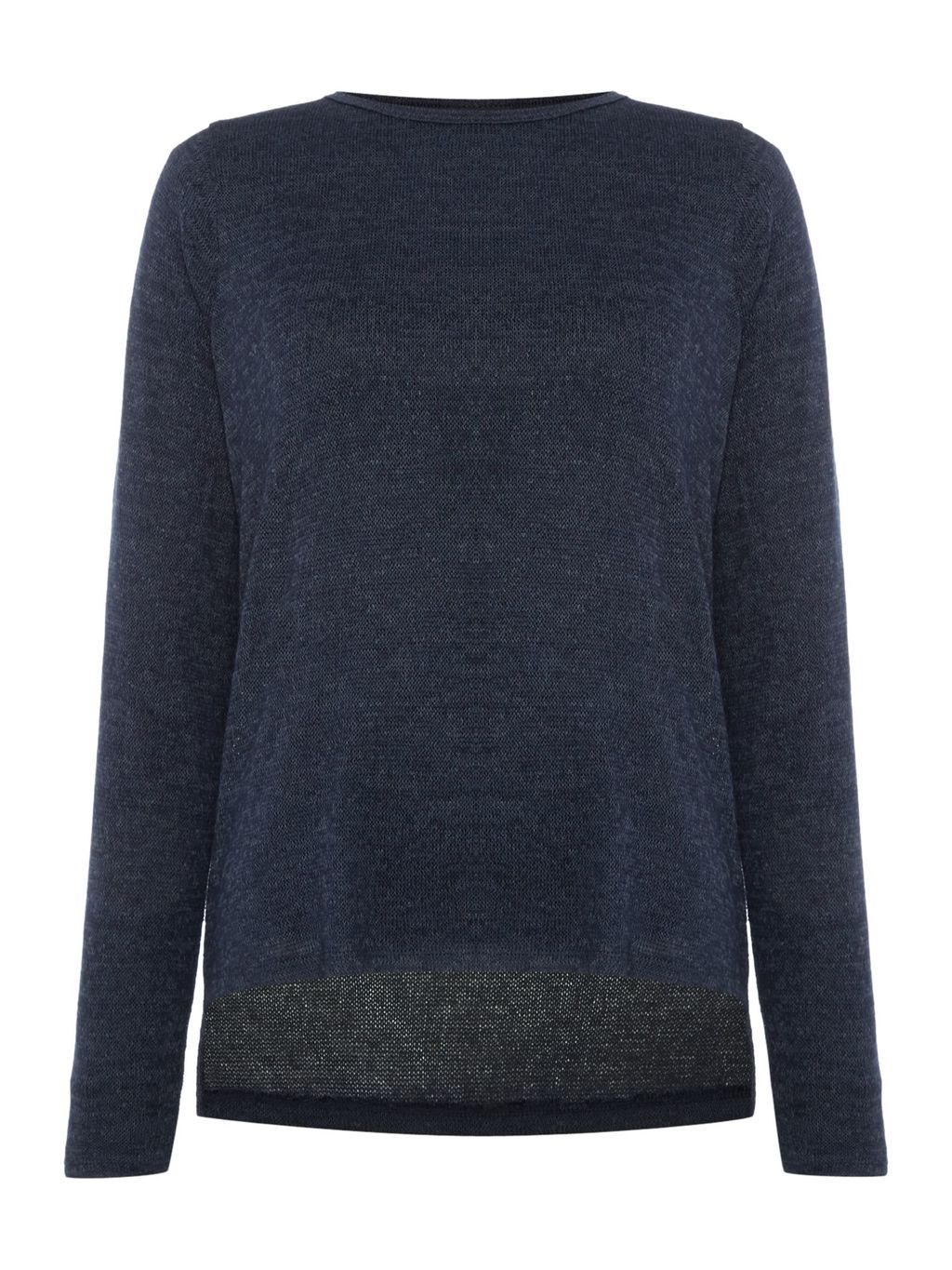 Long Sleeve Lightweight Knitted Jumper, Navy - neckline: round neck; pattern: plain; style: standard; predominant colour: navy; occasions: casual, work, creative work; length: standard; fit: loose; sleeve length: long sleeve; sleeve style: standard; texture group: knits/crochet; pattern type: knitted - fine stitch; fibres: viscose/rayon - mix; season: s/s 2016