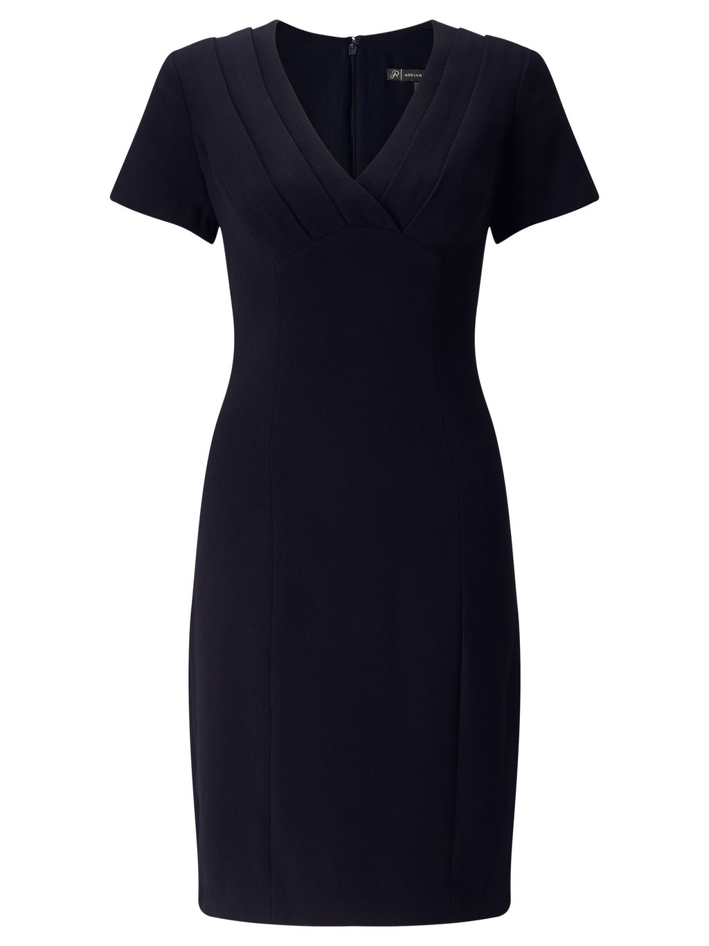 Crepe Dress With Wrap Front, Blue - style: faux wrap/wrap; neckline: v-neck; fit: tailored/fitted; pattern: plain; predominant colour: navy; occasions: work; length: just above the knee; fibres: polyester/polyamide - 100%; sleeve length: short sleeve; sleeve style: standard; texture group: crepes; pattern type: fabric; season: s/s 2016; wardrobe: investment