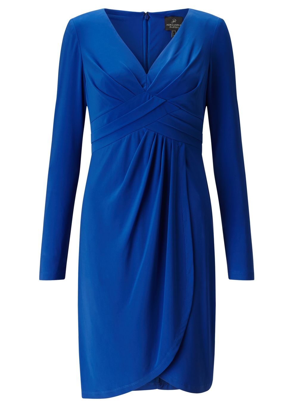Front Draped Full Sleeved Sheath Dress., Blue - style: faux wrap/wrap; neckline: v-neck; pattern: plain; bust detail: subtle bust detail; predominant colour: royal blue; occasions: evening, occasion; length: on the knee; fit: body skimming; fibres: polyester/polyamide - stretch; hip detail: adds bulk at the hips; sleeve length: long sleeve; sleeve style: standard; texture group: jersey - clingy; pattern type: fabric; season: s/s 2016; wardrobe: event