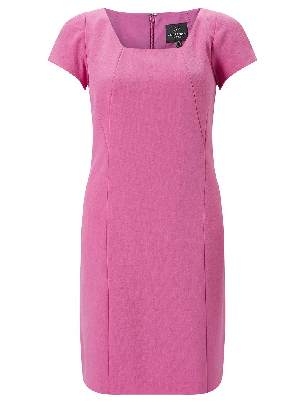 Short Sleeve Tailored Dress, Pink - style: shift; length: mid thigh; sleeve style: capped; fit: tailored/fitted; pattern: plain; predominant colour: pink; fibres: polyester/polyamide - 100%; occasions: occasion; sleeve length: short sleeve; texture group: crepes; neckline: medium square neck; pattern type: fabric; season: s/s 2016; wardrobe: event