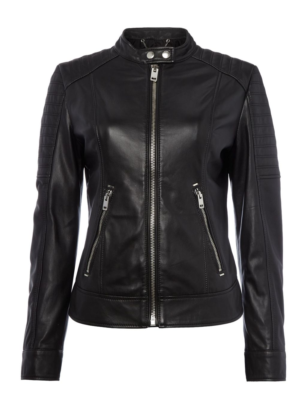 L Nayt Leather Jacket, Black - pattern: plain; style: biker; collar: standard biker; fit: slim fit; predominant colour: black; occasions: casual, creative work; length: standard; fibres: leather - 100%; sleeve length: long sleeve; sleeve style: standard; texture group: leather; collar break: high/illusion of break when open; pattern type: fabric; season: s/s 2016; wardrobe: basic