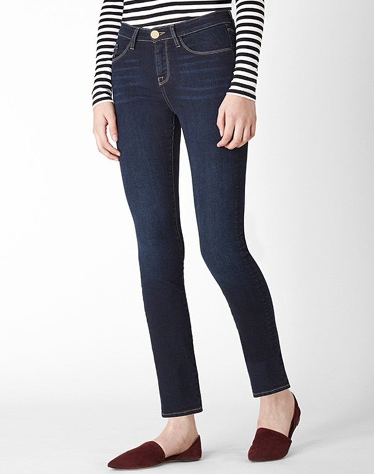 High Rise Slim Straight Jean Washed Ink - pattern: plain; waist: low rise; pocket detail: traditional 5 pocket; style: slim leg; predominant colour: navy; occasions: casual; length: ankle length; fibres: cotton - stretch; jeans detail: whiskering; texture group: denim; pattern type: fabric; season: a/w 2015; wardrobe: basic