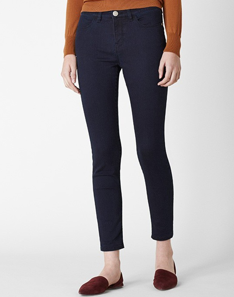 High Rise Skinny Jean Dark Ink - style: skinny leg; pattern: plain; waist: low rise; predominant colour: navy; occasions: casual; length: ankle length; fibres: cotton - stretch; texture group: denim; pattern type: fabric; season: a/w 2015; wardrobe: basic