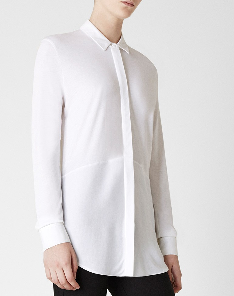 The Long Layering Shirt Optic White - neckline: shirt collar/peter pan/zip with opening; pattern: plain; style: shirt; predominant colour: ivory/cream; occasions: casual, creative work; length: standard; fibres: polyester/polyamide - 100%; fit: straight cut; sleeve length: long sleeve; sleeve style: standard; texture group: crepes; pattern type: fabric; season: a/w 2015