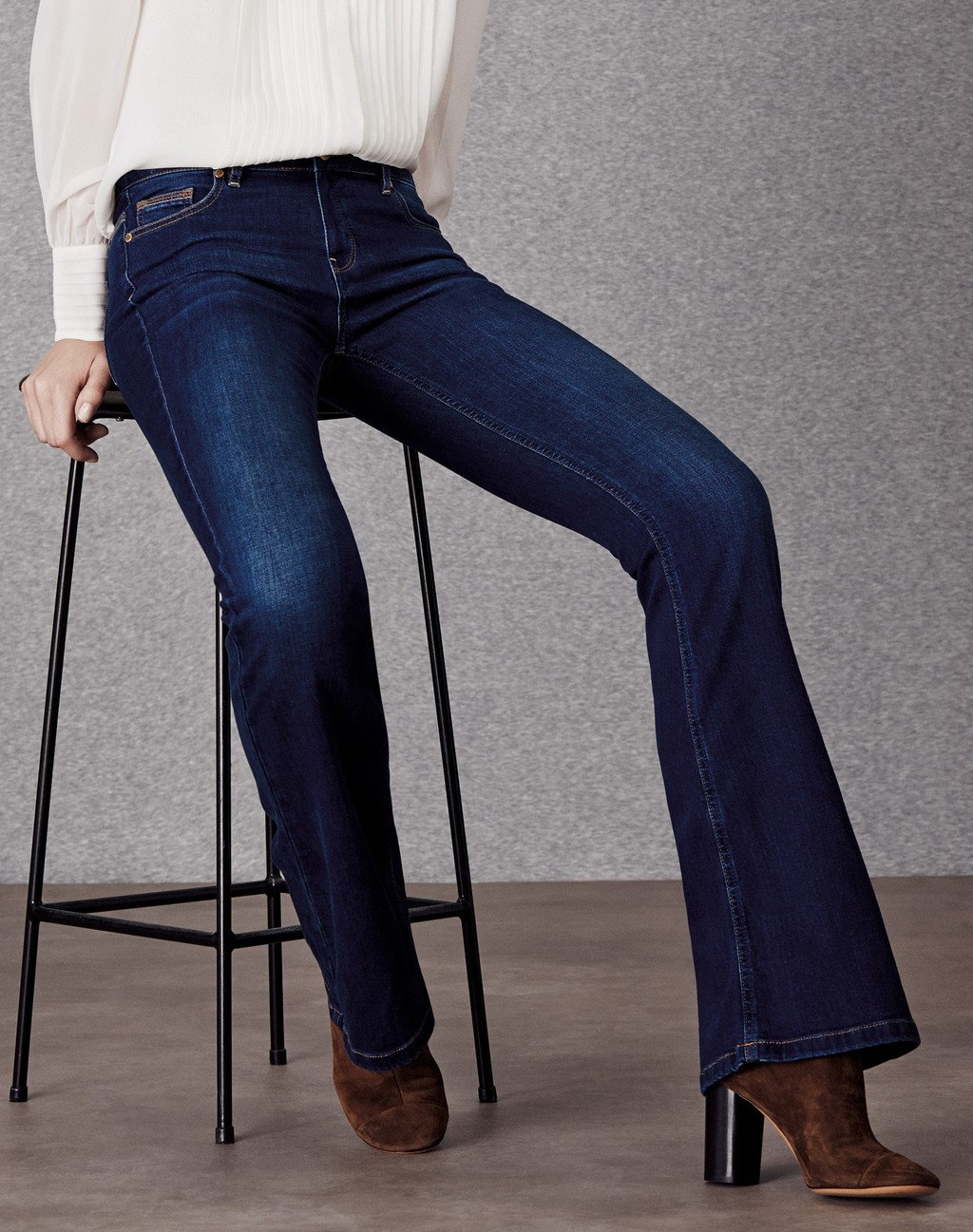 Slim Flare Jean Faded Ink - style: flares; length: standard; pattern: plain; pocket detail: traditional 5 pocket; waist: mid/regular rise; predominant colour: navy; occasions: casual; fibres: cotton - stretch; texture group: denim; pattern type: fabric; season: a/w 2015; wardrobe: basic