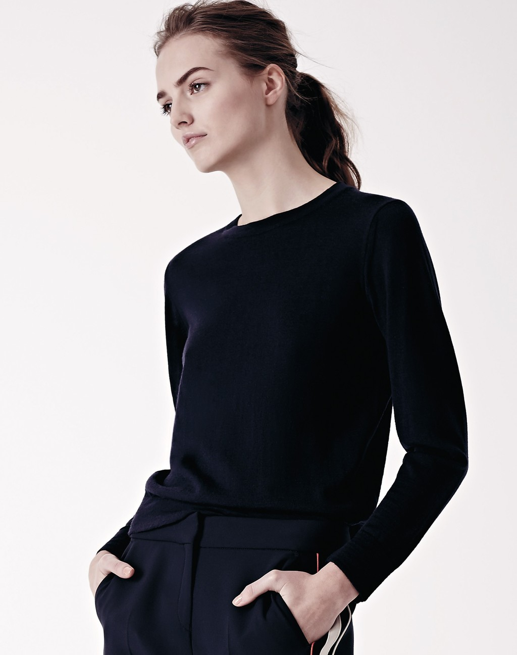 The Perfect Crew Neck Jumper Navy - pattern: plain; style: standard; predominant colour: navy; occasions: casual, creative work; length: standard; fibres: wool - mix; fit: standard fit; neckline: crew; sleeve length: long sleeve; sleeve style: standard; texture group: knits/crochet; pattern type: knitted - fine stitch; season: a/w 2015