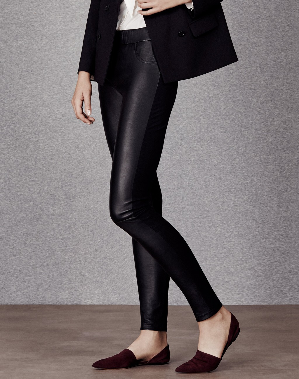Leather And Gabardine Stretch Legging Black - length: standard; pattern: plain; style: leggings; waist detail: elasticated waist; waist: low rise; predominant colour: black; occasions: evening, creative work; fibres: leather - 100%; texture group: leather; fit: skinny/tight leg; pattern type: fabric; season: a/w 2015; wardrobe: highlight