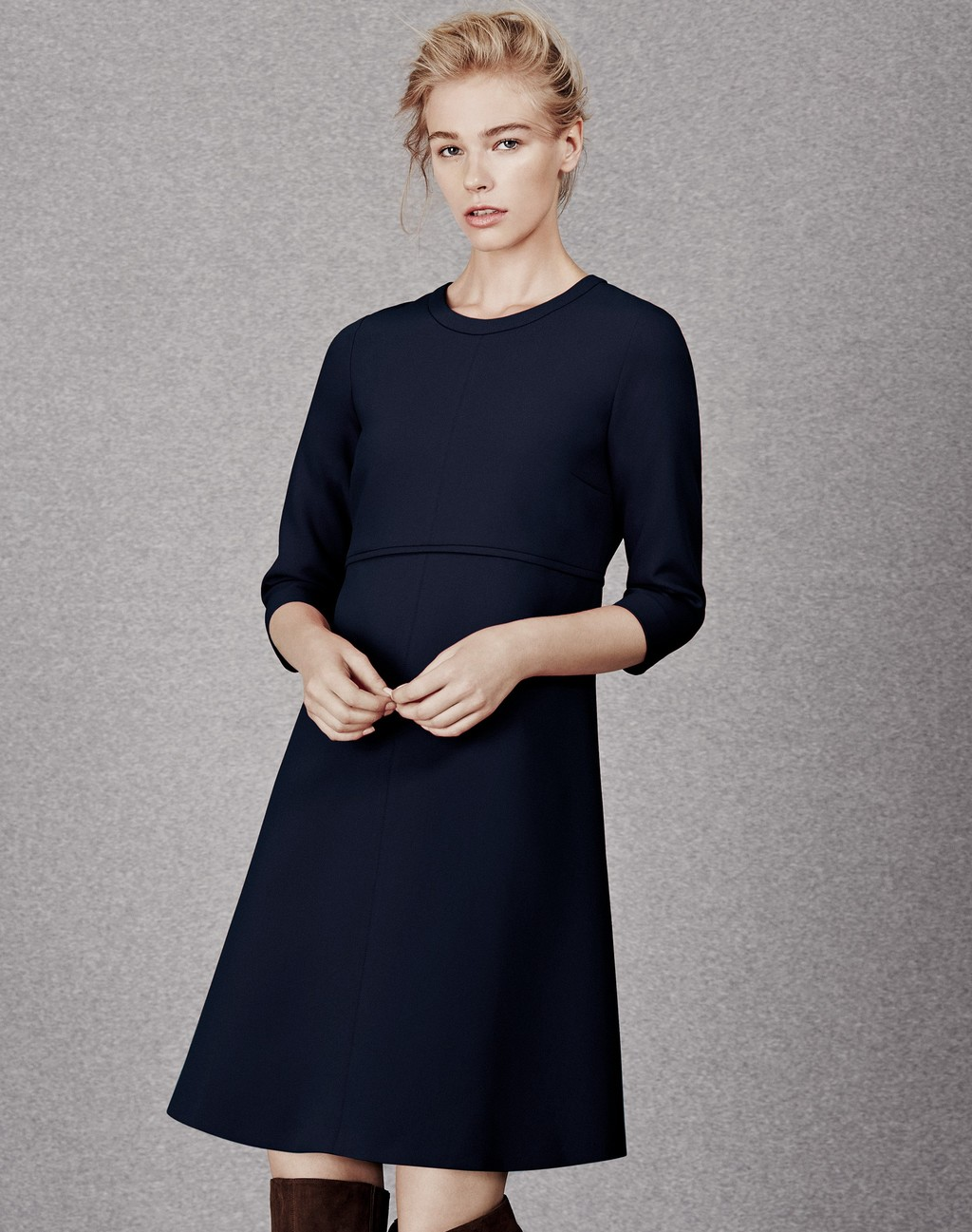 Tailored A Line Dress Navy - style: shift; pattern: plain; predominant colour: navy; occasions: work, creative work; length: just above the knee; fit: soft a-line; fibres: polyester/polyamide - 100%; neckline: crew; sleeve length: 3/4 length; sleeve style: standard; texture group: crepes; pattern type: fabric; season: a/w 2015; wardrobe: investment