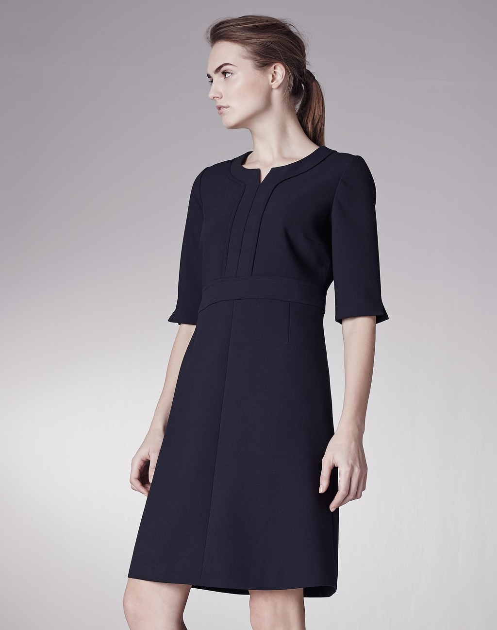 Top Stitch A Line Dress Navy - style: shift; neckline: round neck; pattern: plain; predominant colour: navy; occasions: work, occasion; length: just above the knee; fit: soft a-line; fibres: polyester/polyamide - mix; sleeve length: 3/4 length; sleeve style: standard; pattern type: fabric; texture group: woven light midweight; season: a/w 2015; wardrobe: investment