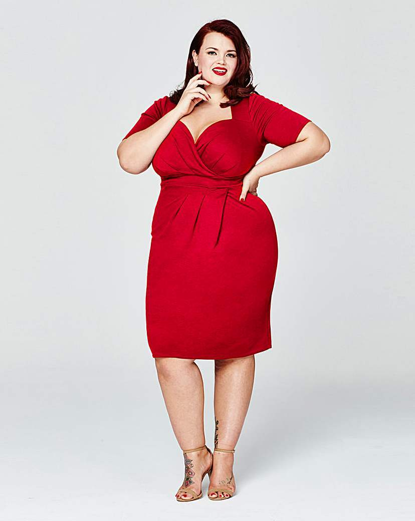 Sweetheart Wrap Dress - style: shift; fit: tight; pattern: plain; neckline: sweetheart; predominant colour: true red; occasions: evening, occasion; length: on the knee; fibres: polyester/polyamide - stretch; sleeve length: half sleeve; sleeve style: standard; pattern type: fabric; texture group: jersey - stretchy/drapey; season: s/s 2016; wardrobe: event