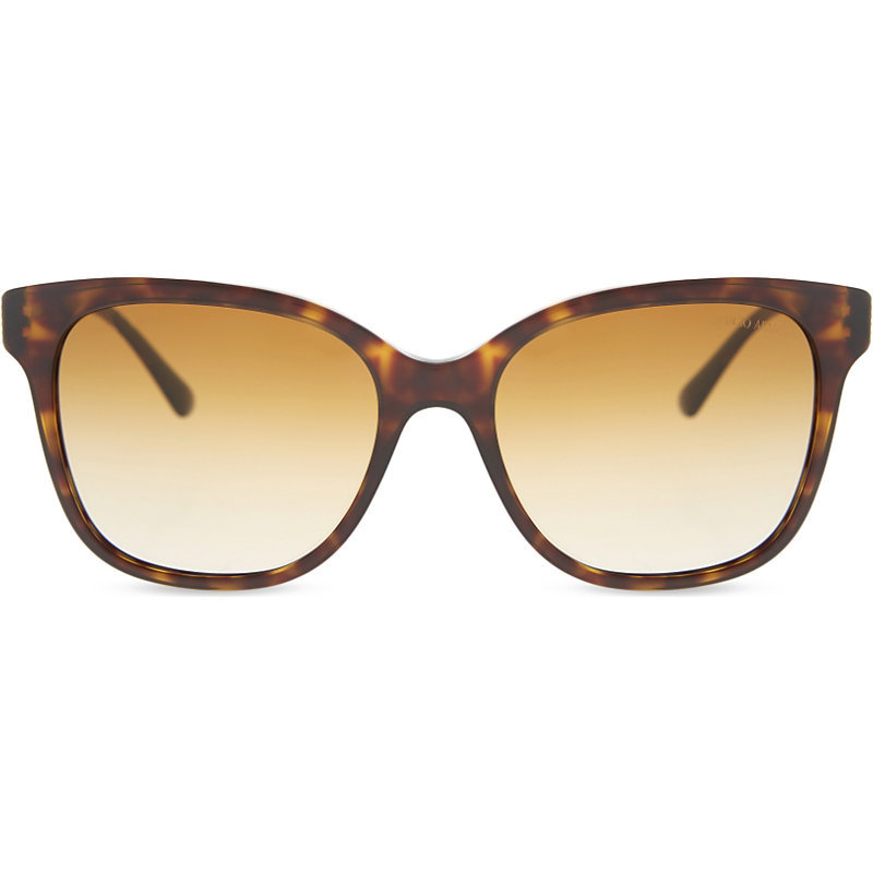 Ar8074 Tortoiseshell Square Frame Sunglasses, Women's, Havana - predominant colour: chocolate brown; occasions: casual, holiday; style: square; size: large; material: plastic/rubber; pattern: tortoiseshell; finish: plain; season: s/s 2016; wardrobe: basic