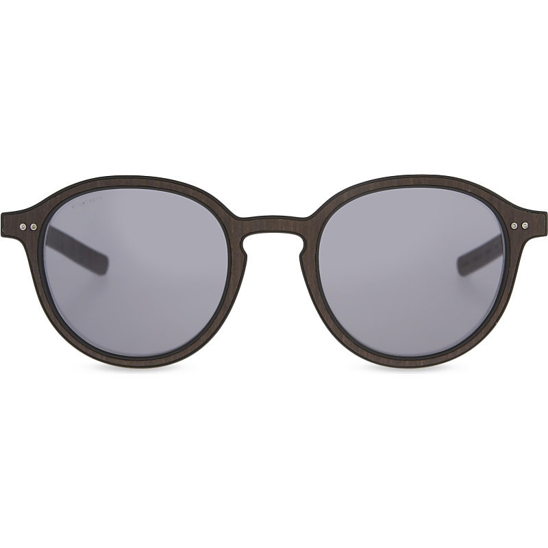 Ar8081 Round Frame Sunglasses, Women's, Matte Black - predominant colour: black; occasions: casual, holiday; style: round; size: standard; material: plastic/rubber; pattern: plain; finish: plain; season: s/s 2016; wardrobe: basic