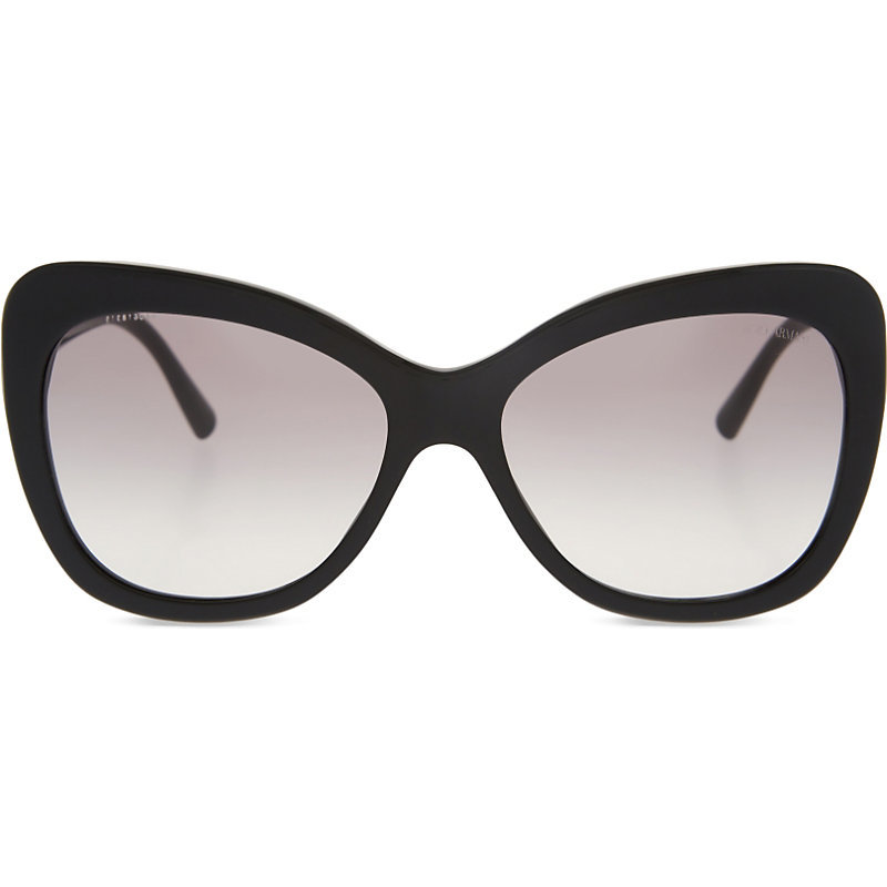 Ar8082 Cat Eye Sunglasses, Women's, Black - predominant colour: black; occasions: casual, holiday; style: cateye; size: large; material: plastic/rubber; pattern: plain; finish: plain; season: s/s 2016; wardrobe: basic