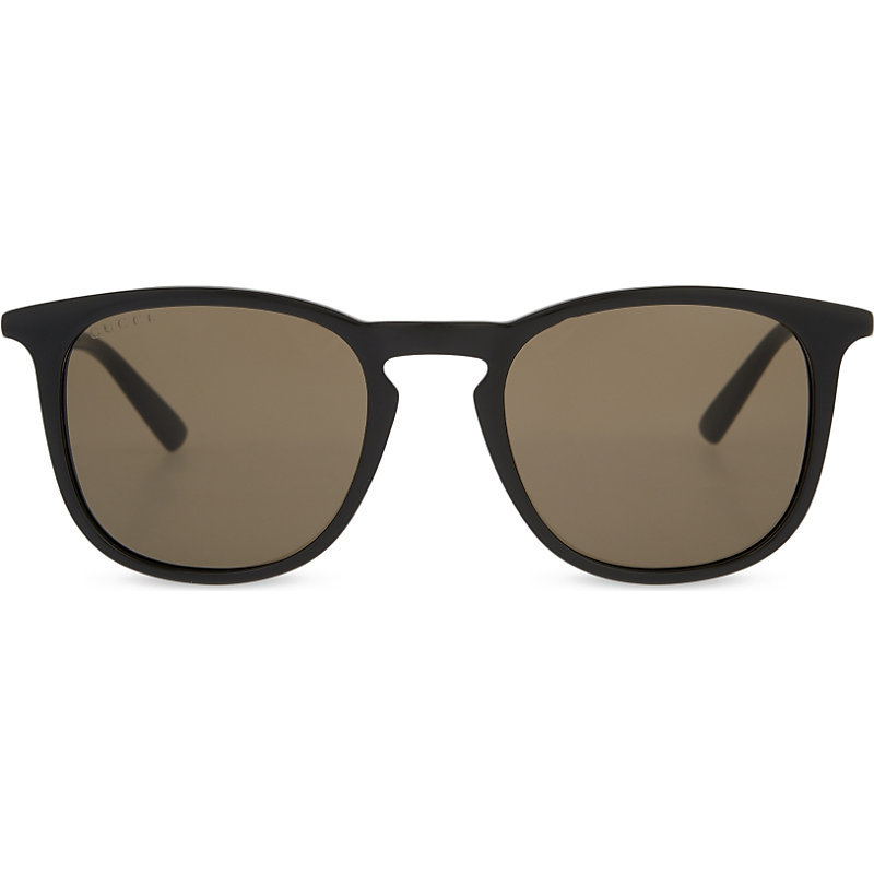 Gg1130 Square Frame Sunglasses, Women's, Black - predominant colour: chocolate brown; occasions: casual, holiday; style: square; size: standard; material: plastic/rubber; pattern: plain; finish: plain; season: s/s 2016