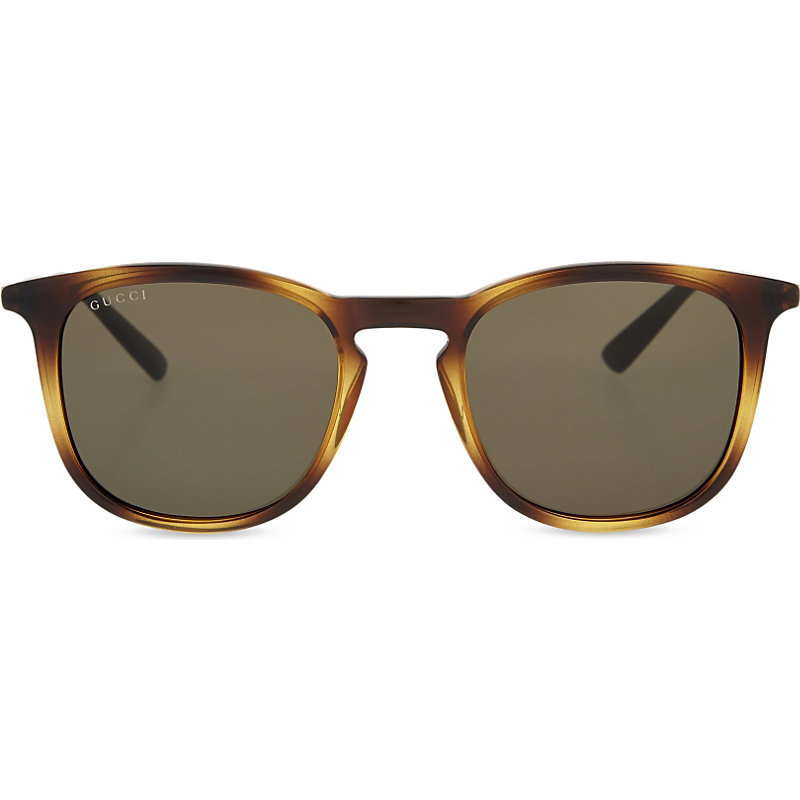 Gg1130 Square Frame Sunglasses, Women's, Tortoise Light - predominant colour: chocolate brown; secondary colour: camel; occasions: casual, holiday; style: square; size: standard; material: plastic/rubber; pattern: tortoiseshell; finish: plain; season: s/s 2016; wardrobe: basic