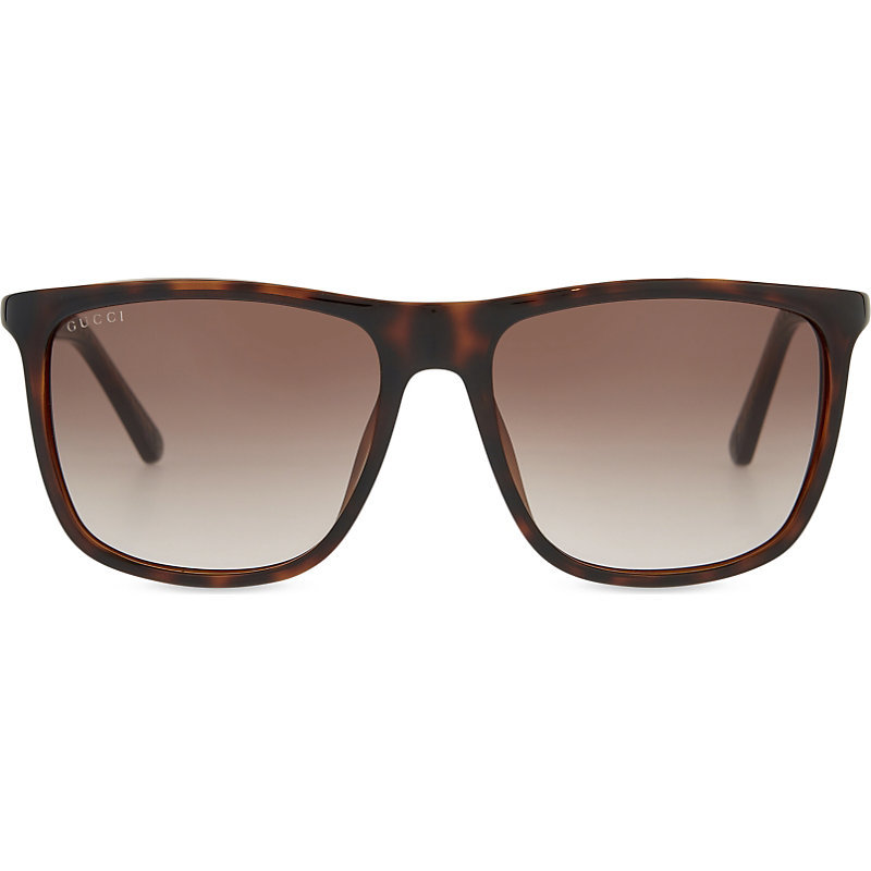 Gg1132 Square Frame Sunglasses, Women's, Green - predominant colour: chocolate brown; occasions: casual, holiday; style: square; size: standard; material: plastic/rubber; pattern: tortoiseshell; finish: plain; season: s/s 2016; wardrobe: basic