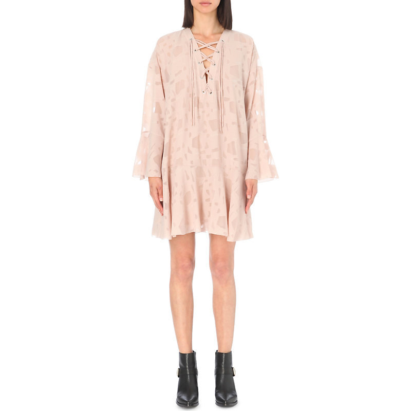 Ralene Tie Front Dress, Women's, Light Salmon - style: smock; length: mid thigh; neckline: v-neck; sleeve style: angel/waterfall; fit: loose; predominant colour: nude; occasions: casual; fibres: polyester/polyamide - 100%; sleeve length: long sleeve; texture group: sheer fabrics/chiffon/organza etc.; pattern type: fabric; pattern: patterned/print; season: s/s 2016; wardrobe: highlight; embellishment location: bust