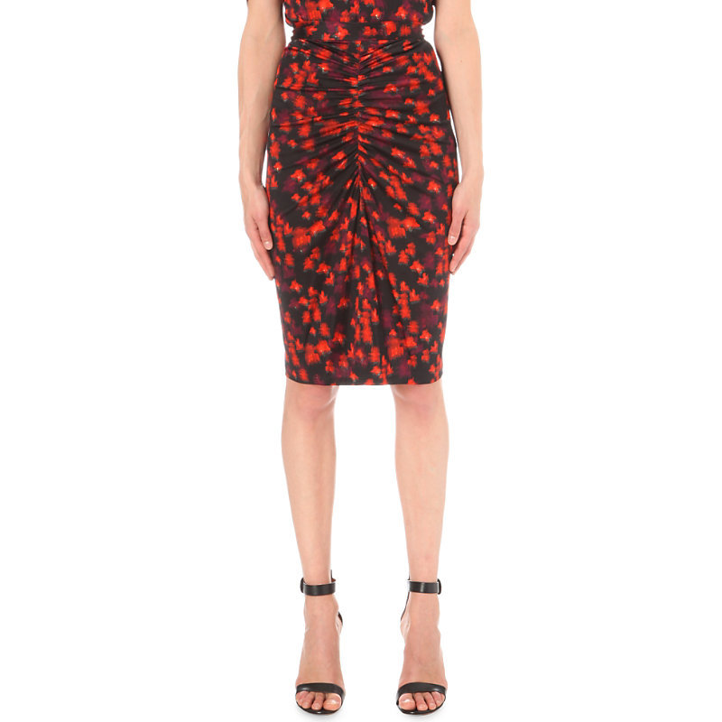 Blurred Floral Print Stretch Jersey Skirt, Women's, Multicolored - fit: tight; waist: high rise; hip detail: draws attention to hips; predominant colour: true red; secondary colour: navy; occasions: evening, creative work; length: on the knee; style: tube; texture group: jersey - clingy; pattern type: fabric; pattern: patterned/print; fibres: silk - stretch; multicoloured: multicoloured; season: s/s 2016; wardrobe: highlight