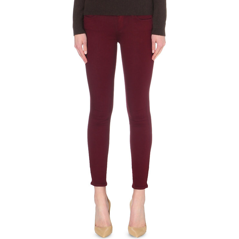 Verdugo Ankle Skinny Mid Rise Jeans, Women's, Deep Syrah - style: skinny leg; length: standard; pattern: plain; pocket detail: traditional 5 pocket; waist: mid/regular rise; predominant colour: burgundy; occasions: casual; fibres: cotton - stretch; texture group: denim; pattern type: fabric; season: s/s 2016; wardrobe: highlight