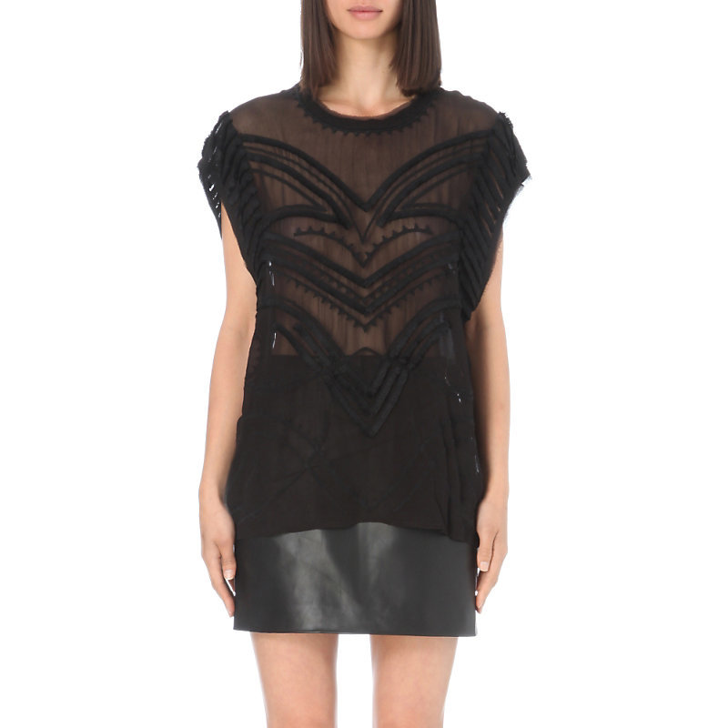 Lana Embroidered Top, Women's, Black - pattern: plain; sleeve style: sleeveless; length: below the bottom; predominant colour: black; occasions: evening; style: top; fibres: viscose/rayon - 100%; fit: body skimming; neckline: crew; sleeve length: sleeveless; texture group: sheer fabrics/chiffon/organza etc.; pattern type: fabric; embellishment: fringing; season: s/s 2016