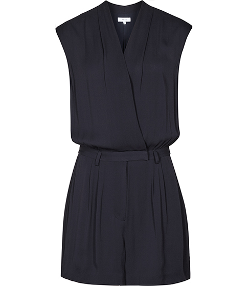 Louie Wrap Playsuit - neckline: v-neck; pattern: plain; sleeve style: sleeveless; length: short shorts; predominant colour: navy; occasions: evening; fit: body skimming; fibres: viscose/rayon - 100%; sleeve length: sleeveless; style: playsuit; pattern type: fabric; texture group: other - light to midweight; season: s/s 2016; wardrobe: event