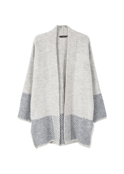 Textured Cotton Cardigan - length: below the bottom; neckline: collarless open; style: open front; secondary colour: mid grey; predominant colour: light grey; occasions: casual, creative work; fibres: acrylic - mix; fit: loose; sleeve length: long sleeve; sleeve style: standard; texture group: knits/crochet; pattern type: knitted - other; pattern size: light/subtle; pattern: patterned/print; season: s/s 2016; wardrobe: highlight