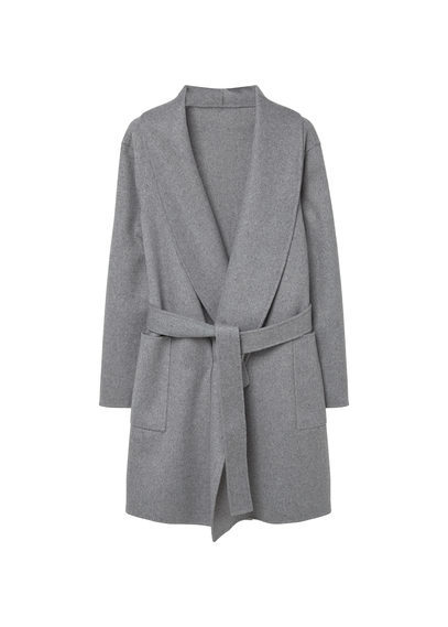 Wide Lapel Wool Blend Coat - pattern: plain; collar: shawl/waterfall; style: wrap around; length: mid thigh; predominant colour: mid grey; occasions: casual, creative work; fit: tailored/fitted; fibres: wool - mix; waist detail: belted waist/tie at waist/drawstring; sleeve length: long sleeve; sleeve style: standard; collar break: low/open; pattern type: fabric; texture group: woven bulky/heavy; season: s/s 2016; wardrobe: basic