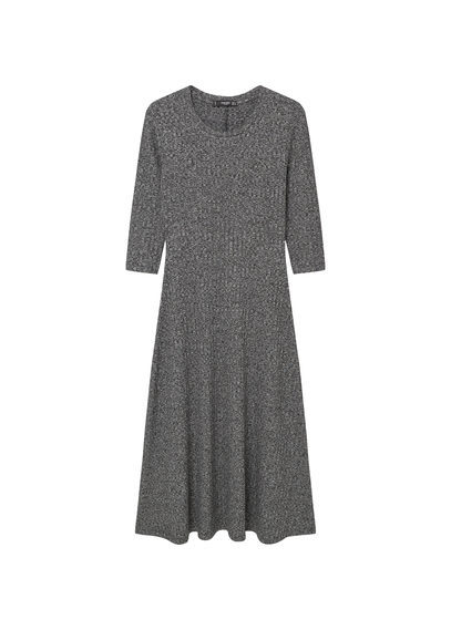 Flecked Long Dress - length: below the knee; neckline: round neck; predominant colour: mid grey; occasions: casual; fit: fitted at waist & bust; style: fit & flare; fibres: viscose/rayon - stretch; sleeve length: 3/4 length; sleeve style: standard; pattern type: fabric; texture group: jersey - stretchy/drapey; pattern: marl; season: s/s 2016; wardrobe: basic