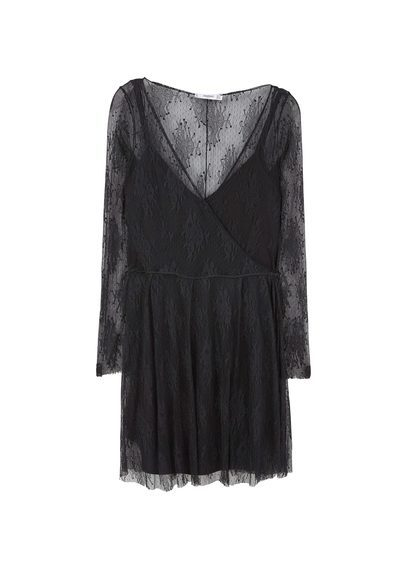Lace Dress - style: faux wrap/wrap; neckline: low v-neck; predominant colour: black; occasions: evening; length: just above the knee; fit: body skimming; fibres: polyester/polyamide - 100%; sleeve length: long sleeve; sleeve style: standard; texture group: sheer fabrics/chiffon/organza etc.; pattern type: fabric; pattern: patterned/print; embellishment: lace; season: s/s 2016; wardrobe: event