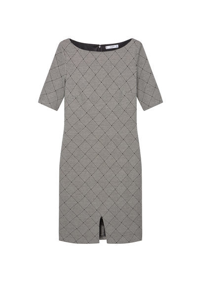 Printed Cotton Dress - style: shift; neckline: slash/boat neckline; fit: tailored/fitted; predominant colour: mid grey; secondary colour: black; length: just above the knee; fibres: cotton - 100%; sleeve length: half sleeve; sleeve style: standard; occasions: holiday; pattern type: fabric; pattern size: standard; pattern: patterned/print; texture group: other - light to midweight; season: s/s 2016
