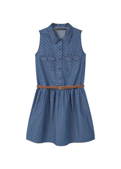 Printed Cotton Dress - style: shirt; length: mid thigh; neckline: shirt collar/peter pan/zip with opening; sleeve style: sleeveless; pattern: polka dot; waist detail: belted waist/tie at waist/drawstring; predominant colour: denim; occasions: casual; fit: body skimming; fibres: cotton - 100%; sleeve length: sleeveless; pattern type: fabric; texture group: other - light to midweight; season: s/s 2016; wardrobe: highlight