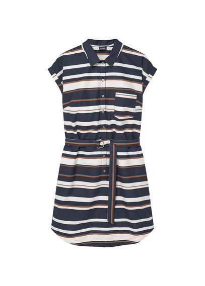 Striped Shirt Dress - style: shirt; length: mid thigh; neckline: shirt collar/peter pan/zip with opening; sleeve style: capped; pattern: horizontal stripes; waist detail: belted waist/tie at waist/drawstring; secondary colour: white; predominant colour: navy; occasions: casual; fit: body skimming; fibres: cotton - 100%; sleeve length: short sleeve; pattern type: fabric; texture group: other - light to midweight; multicoloured: multicoloured; season: s/s 2016; wardrobe: basic