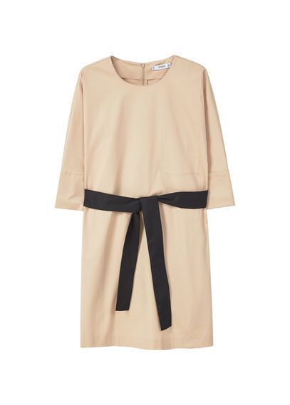 Belt Cotton Dress - style: shift; pattern: plain; waist detail: flattering waist detail; predominant colour: stone; secondary colour: black; occasions: casual, creative work; length: just above the knee; fit: straight cut; fibres: cotton - 100%; neckline: crew; sleeve length: 3/4 length; sleeve style: standard; texture group: cotton feel fabrics; pattern type: fabric; season: s/s 2016; wardrobe: basic
