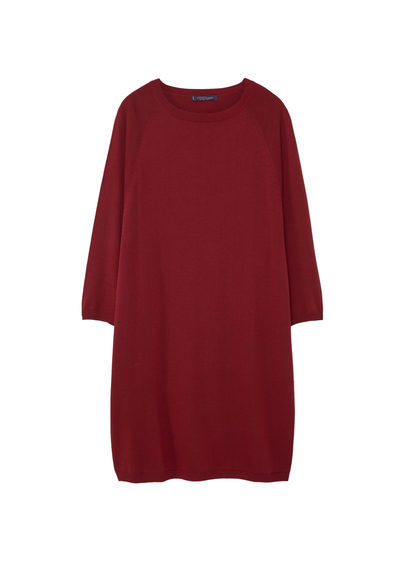 Knit Cotton Blend Dress - style: jumper dress; neckline: round neck; pattern: plain; predominant colour: burgundy; occasions: casual; length: just above the knee; fit: body skimming; fibres: cotton - mix; sleeve length: long sleeve; sleeve style: standard; texture group: knits/crochet; pattern type: knitted - fine stitch; season: s/s 2016; wardrobe: highlight