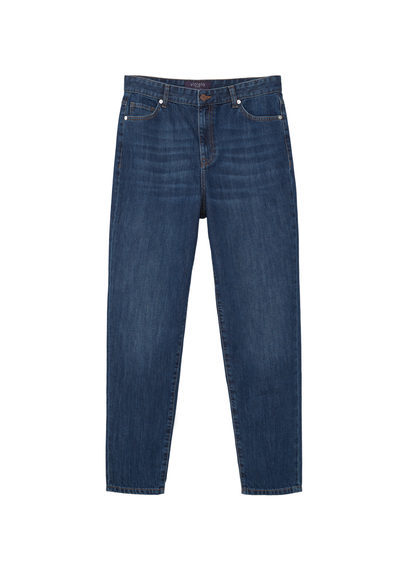 Mom Fit Jeans - style: boyfriend; length: standard; pattern: plain; pocket detail: traditional 5 pocket; waist: mid/regular rise; predominant colour: navy; occasions: casual; fibres: cotton - stretch; jeans detail: whiskering, dark wash; texture group: denim; pattern type: fabric; season: s/s 2016; wardrobe: basic