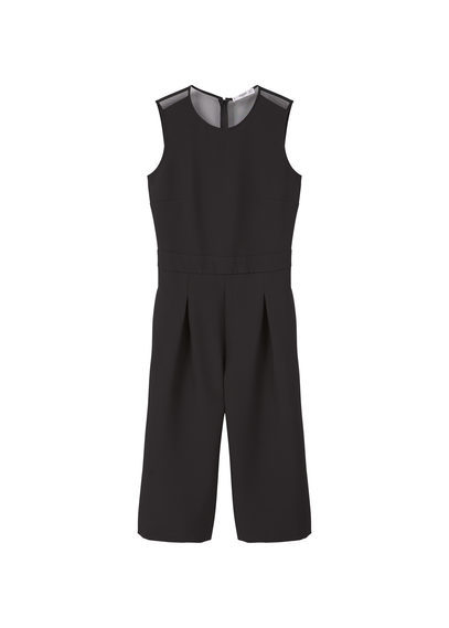 Tulle Panel Jumpsuit - fit: tailored/fitted; pattern: plain; sleeve style: sleeveless; predominant colour: black; length: calf length; fibres: polyester/polyamide - stretch; neckline: crew; sleeve length: sleeveless; style: jumpsuit; pattern type: fabric; texture group: other - light to midweight; occasions: creative work; season: s/s 2016