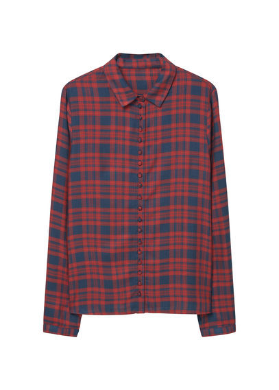 Check Shirt - neckline: shirt collar/peter pan/zip with opening; pattern: checked/gingham; style: shirt; predominant colour: true red; secondary colour: navy; occasions: casual; length: standard; fibres: viscose/rayon - 100%; fit: body skimming; sleeve length: long sleeve; sleeve style: standard; pattern type: fabric; texture group: woven light midweight; multicoloured: multicoloured; season: s/s 2016; wardrobe: highlight